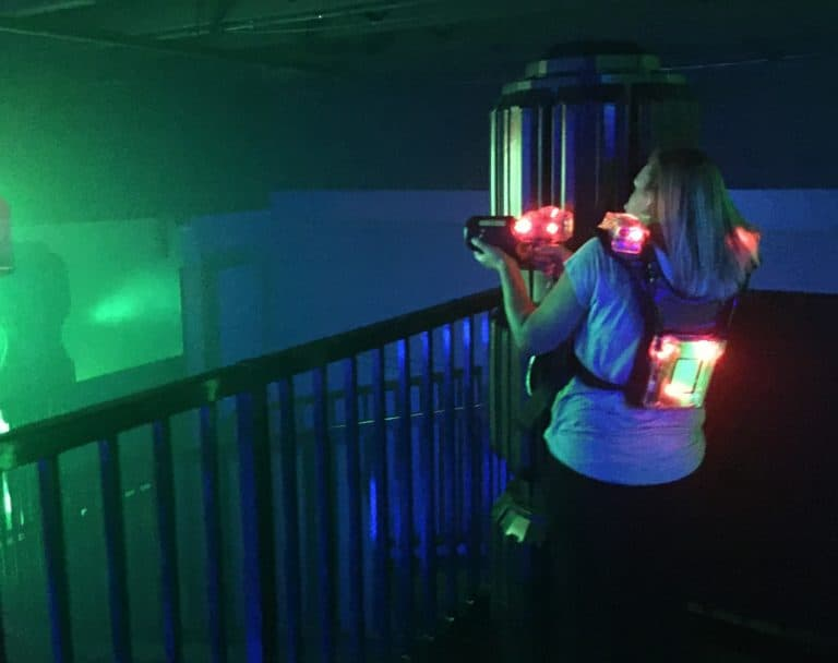 Picture of woman playing Laser Tag